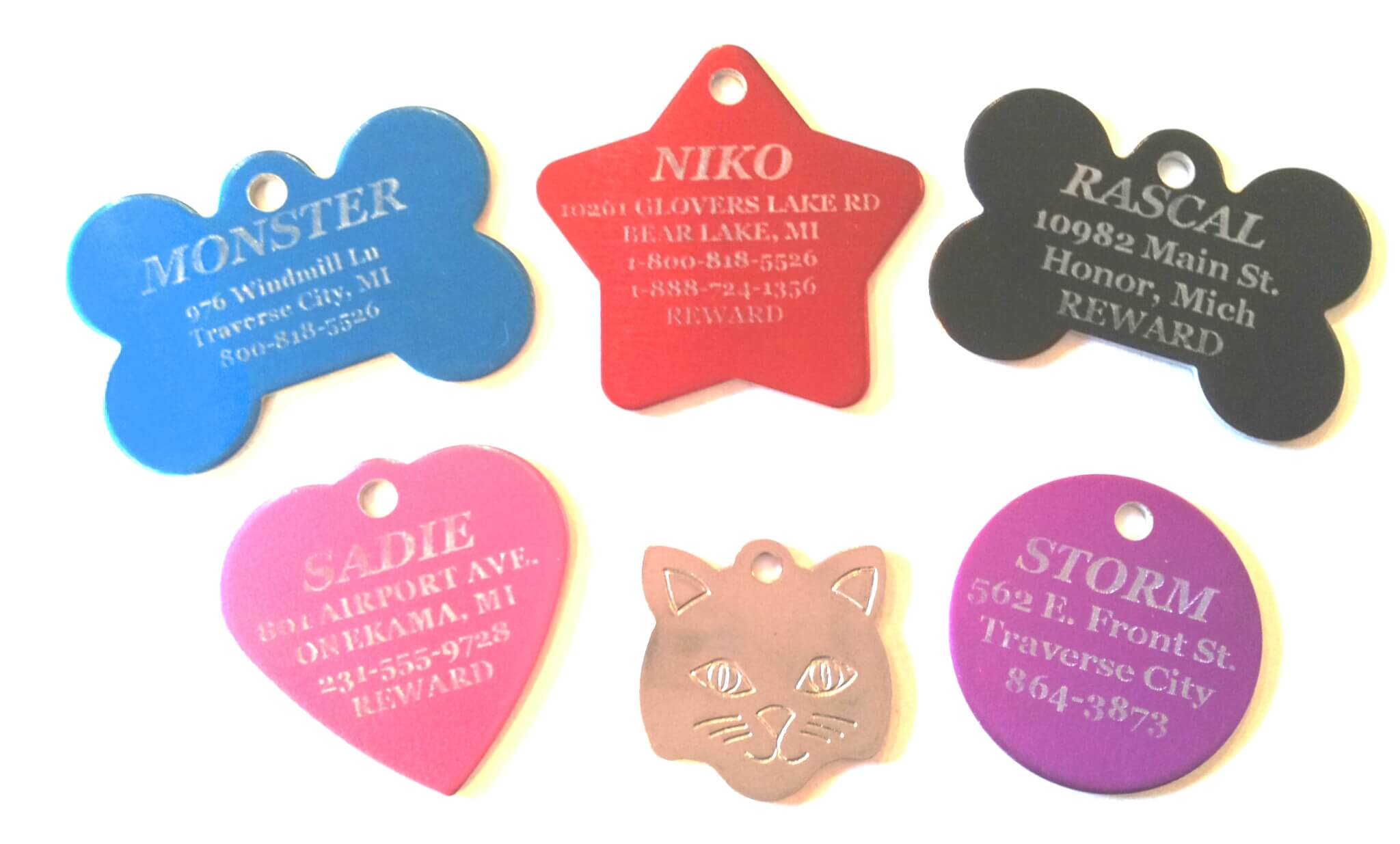 Design, preview, and purchase laser engraved Pet ID Tags.