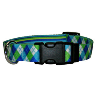 Green and Blue Argyle Dog Collars