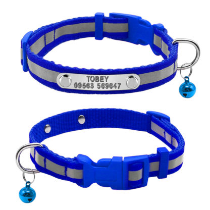 blue custom reflective collar with engraved nameplate
