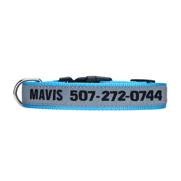 blue reflective personalized embroidered collar