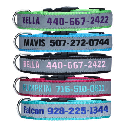 personalized reflective embroidery collars