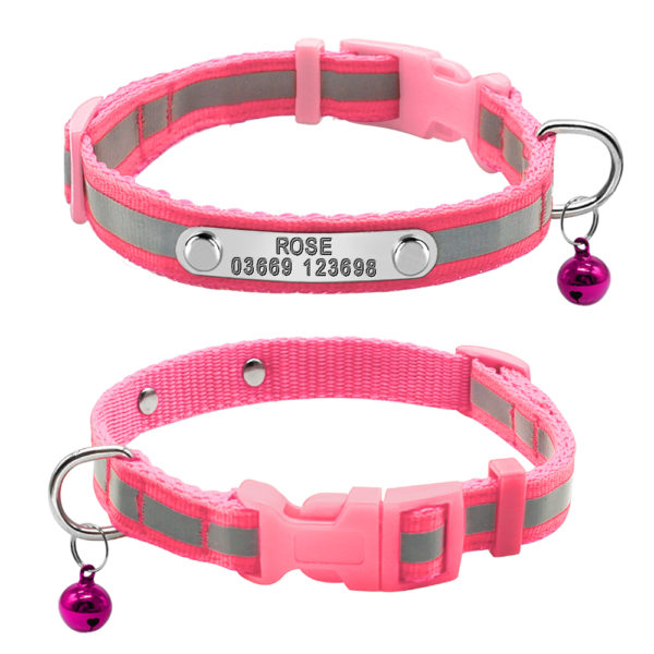 custom nameplate collar pink with reflective