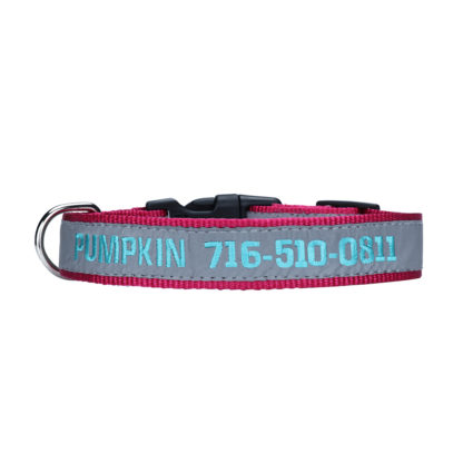 pink personalized embroidered collar