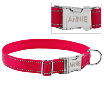 pink collar with custom engraved buckle