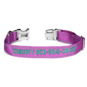 purple nylon custom collar reflective thread
